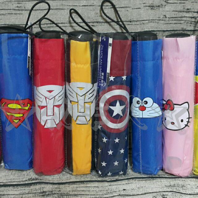 ~ ~英雄聯盟美國隊長、超人、蜘蛛俠、變形金剛、白雪公主、KITTY 動漫卡通折疊雨傘兒童