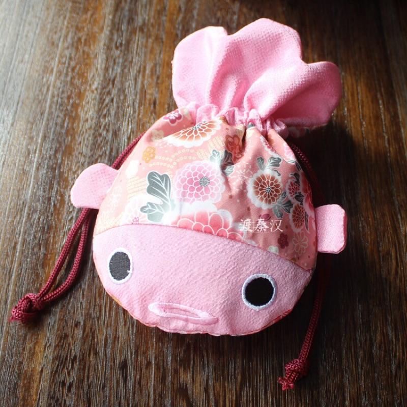 女童日式和服提花金魚手提包女寶寶浴衣和風碎花手拿包束口袋