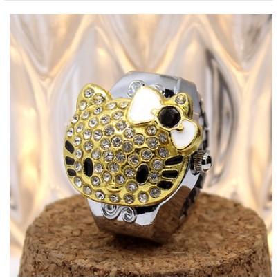戒指表奢華鑲鑽翻蓋可愛K 貓學生手錶隱式戒指手指表女表