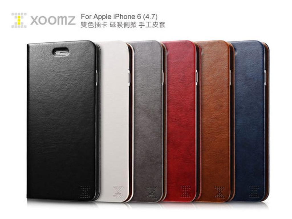 ~愛瘋潮~XOOMZ 雙色插卡iPhone 6S 6 4 7 吋磁吸側掀 皮套