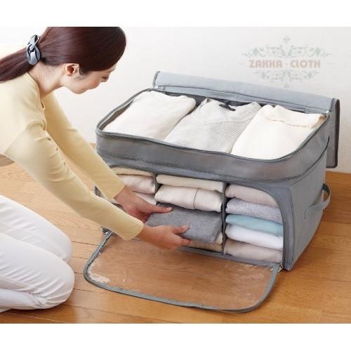 收納 竹炭纖維棉被衣物收納箱無紡布 三格可透視棉被衣物收納袋行李袋整理袋換季收納