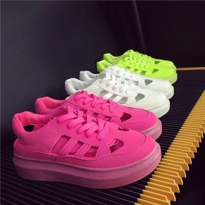 11 11  、韓國 、 、 、  鏤空包頭圓頭系帶糖果松糕厚底涼鞋女學生 小白鞋