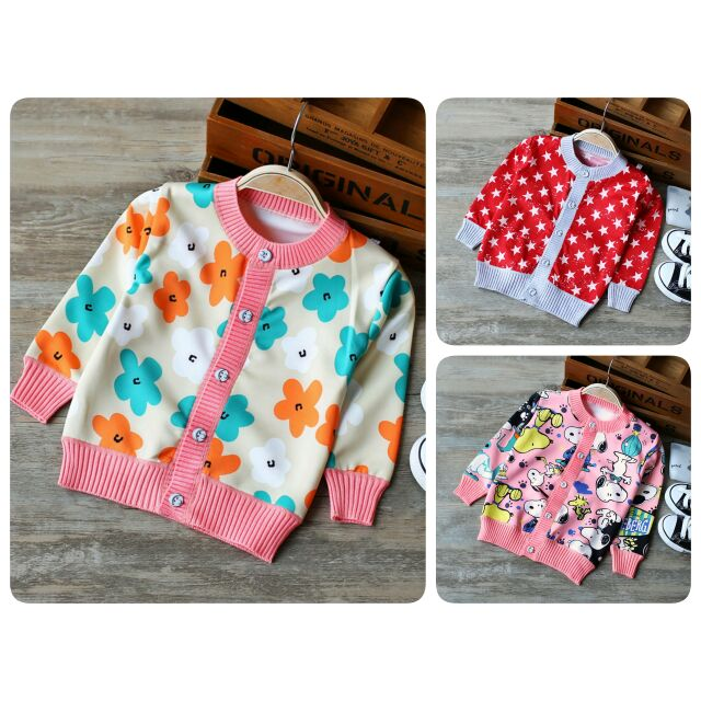 秋裝 ~OBA s Shop ~針織棉女童 薄款外套罩衫