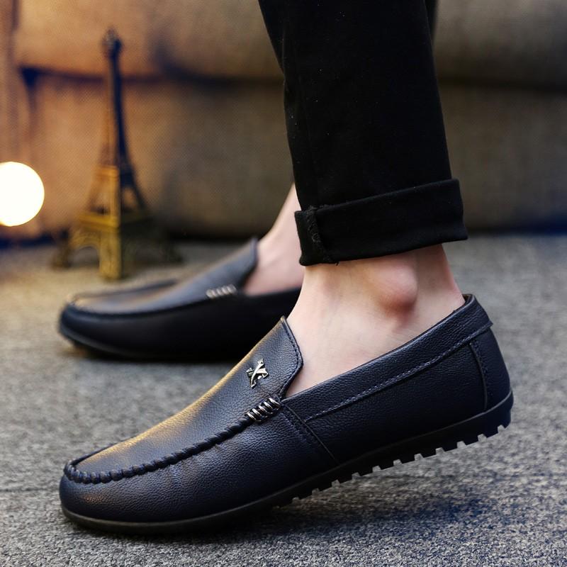 豆豆鞋男士 英倫休閒鞋皮鞋一腳蹬懶人鞋子青少年透氣男鞋