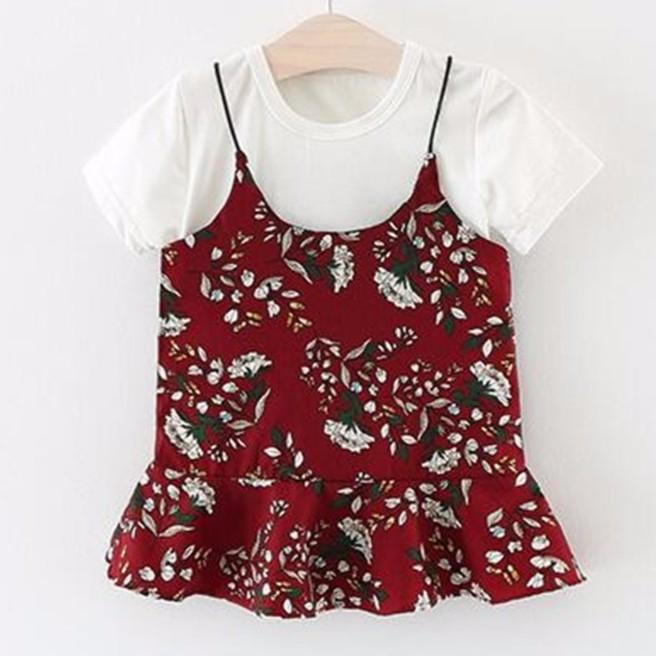 女童女寶寶清新文藝碎花吊帶裙短袖t 恤三色兩件套連身裙6 個月3 歲洋裝