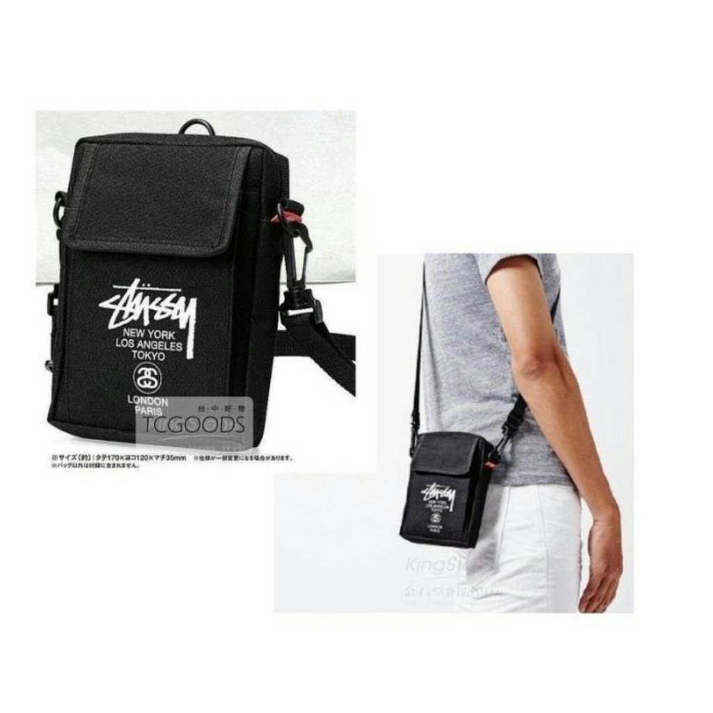 滑版潮牌STUSSY 黑色牛津布側背包斜背包隨身小物包肩背包潮牌收納包