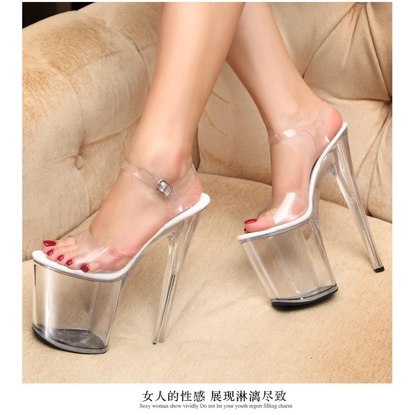 ♪優品之家♬恨天高性感透明水晶鞋女涼鞋款超高跟鞋20cm 高細跟防水臺模特大碼