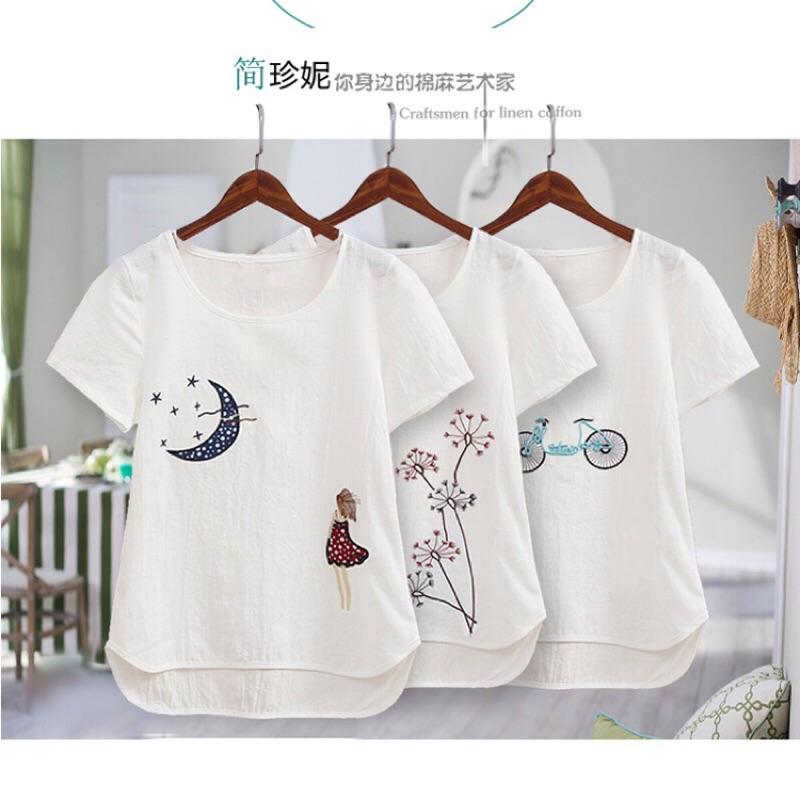 女裝體恤白色純棉仿麻棉麻刺繡花半袖短袖純色加大碼寬鬆t 恤女