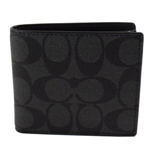 MJ  COACH 75006 黑灰C Logo PVC 真皮內裡四卡零錢袋短夾
