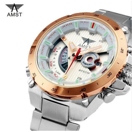 正品艾美時特AMST 男錶多 雙顯手錶戶外登山夜光深水防水腕錶