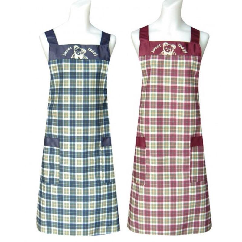 格子甜蜜熊圍裙水洗不退色 圍裙圍巾烹調煮飯廚房人妻新手