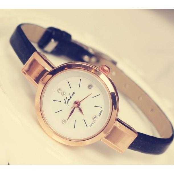 暢銷歡樂頌玫瑰金女士學生韓國細錶帶復古女表鑲鑽圓形小錶盤手錶