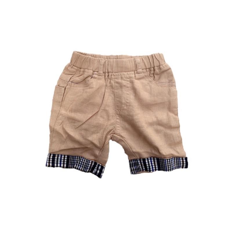楽宝兒 小舖 Zara Baby Boy 雅痞格英倫風格紋反折五分短褲卡其