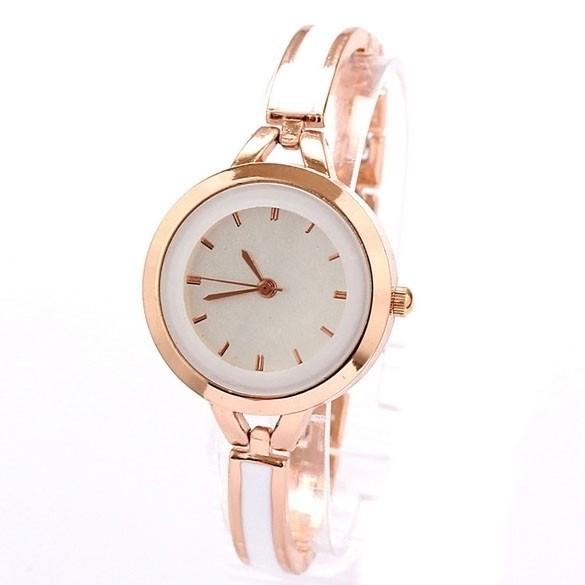 GE 職業女士玫瑰金白色細帶手錶手鍊水鑽腕錶(金)