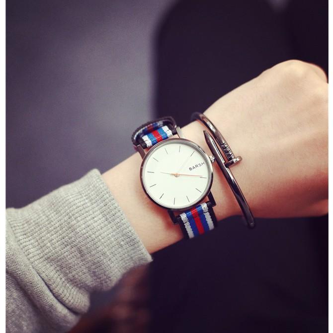 潮流 簡約休閒潮表男女英倫極簡帆布尼龍彩帶學生手錶