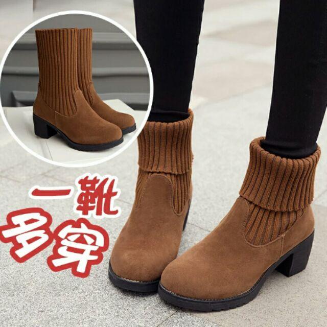2016 秋 韩版短靴女中筒靴女鞋女靴子时尚百搭粗跟中跟靴子