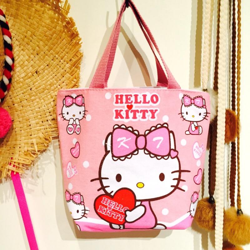 卡通三麗鷗hello kitty 凱蒂貓可愛帆布手提袋手提包便當袋 袋拉鍊包