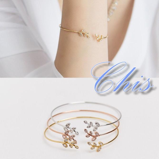 Chis Store ~清新小鑽樹葉手鐲~韓國森林系女孩桂冠葉子樹枝金屬風簡單水鑽閨密姊妹