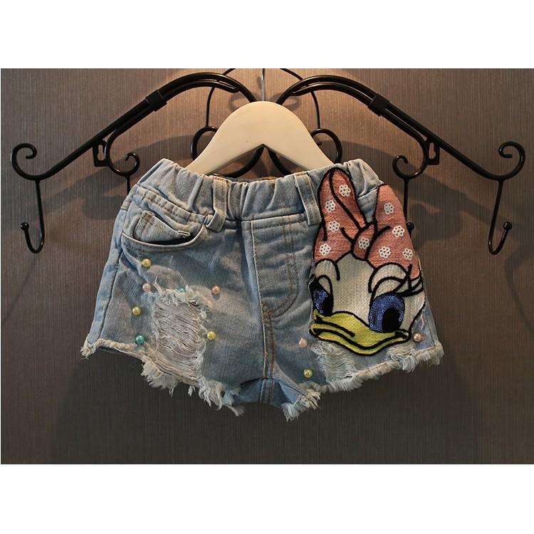 女童牛仔短褲   卡通亮片布貼牛仔短褲