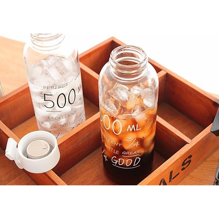 w n 500ml 玻璃水瓶韓國bottle 字母隨手杯耐熱透明情侶款黑白雙色檸檬杯隨行瓶