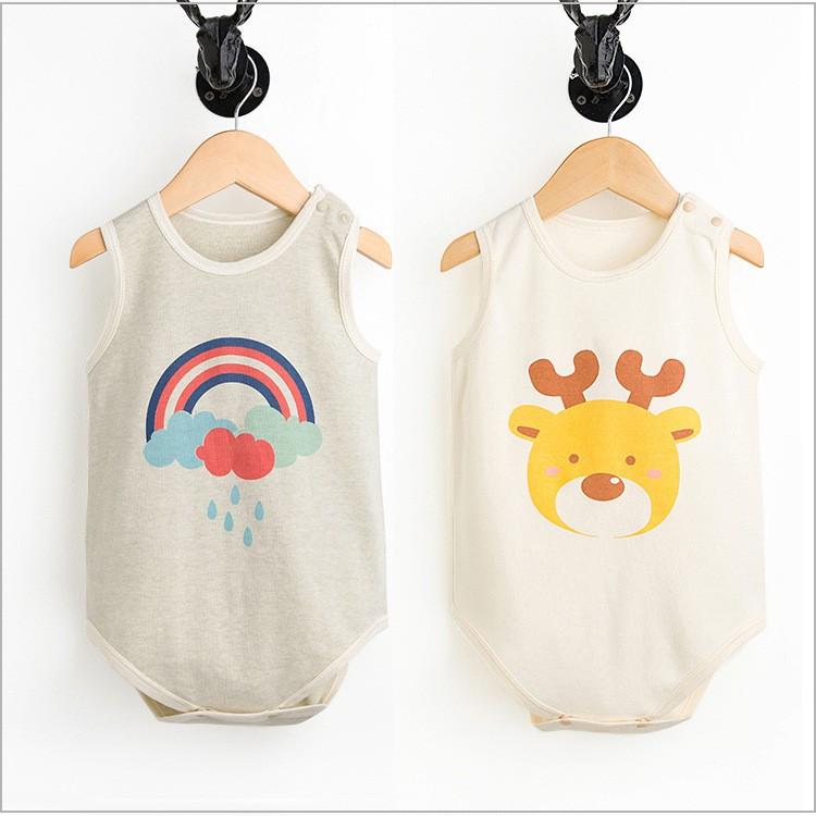 彩棉寶寶包臀包屁衣哈衣無袖連體衣嬰兒背心三角爬服純棉