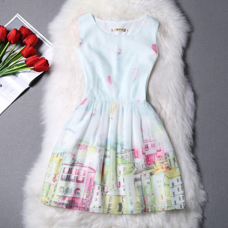 潘朵拉衣閣M24 實拍  禮服小香風歐根紗印花無袖蓬蓬裙連衣裙洋裝小禮服