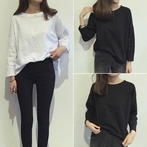 ▲長袖T 恤▲純色簡約棉質長袖打底衫 寬松顯瘦T 恤上衣女學生