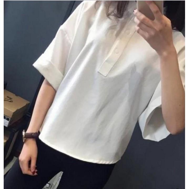 ~今日最低~ 款 白襯衫女夏短袖韓國學生簡約寬鬆顯瘦復古襯衫夏天潮流立領寬袖蝙蝠袖非Zar