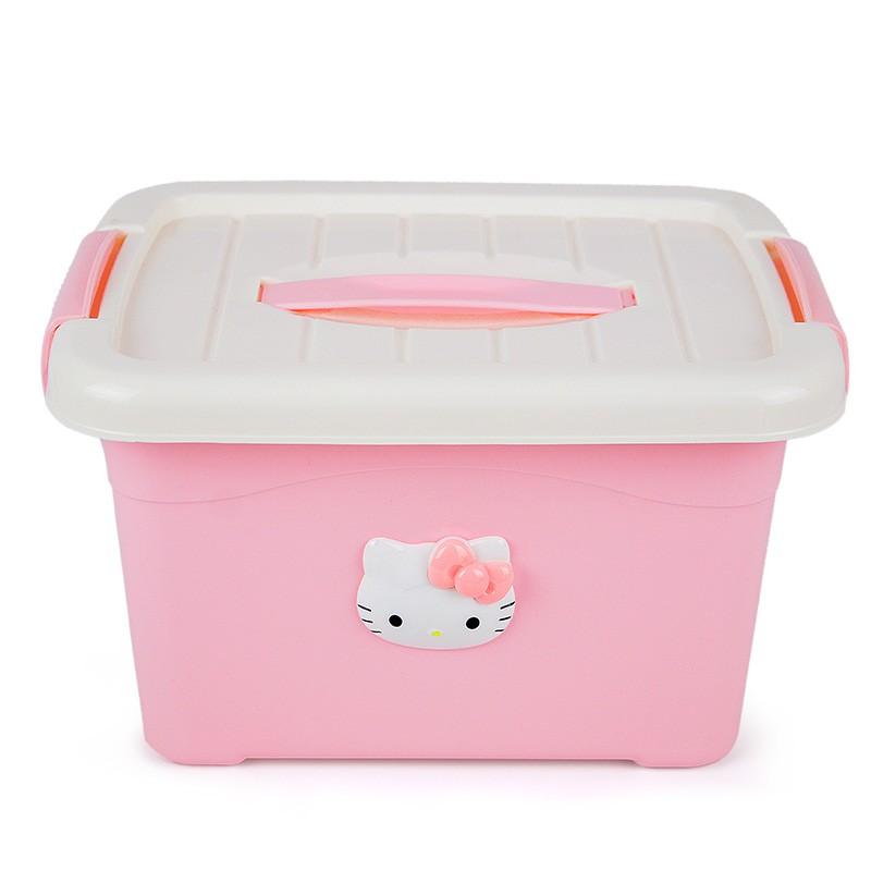 hello kitty 塑料儲物袋蓋整理箱化妝品內衣零食桌面收納盒加厚