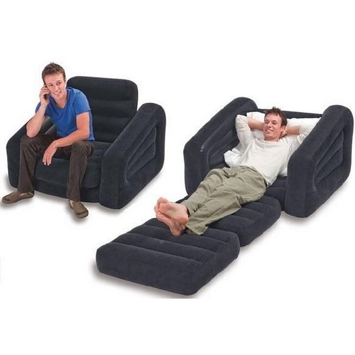一露遊你INTEX 68565 送充氣枕豪華單人充氣沙發床折疊氣墊沙發床109x218x