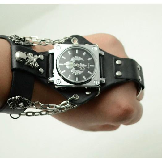 嘻哈朋克風格蝎子骷髏鉚釘鏈帶手錶男士哥特風格手錶