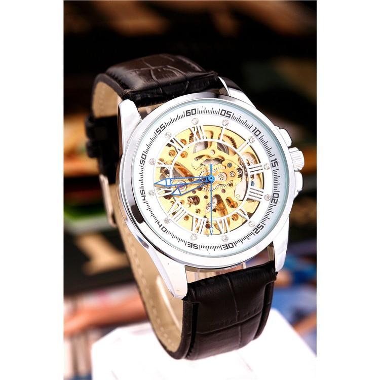 高 機械手錶男士皮革錶帶奢華腕錶的 的圓形錶盤手錶