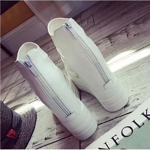 !靚! 涼鞋休閒厚底魚嘴內增高透氣網紗鬆糕羅馬鞋黑白潮