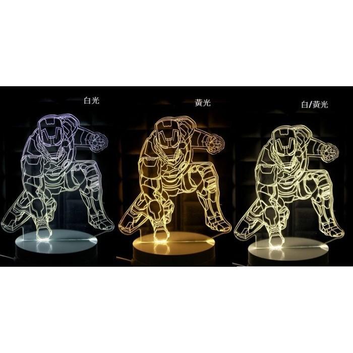 LED 3D 立體燈跪姿鋼鐵人三段燈光白底座夜燈小夜燈情境燈氣氛燈 生日 聖誕