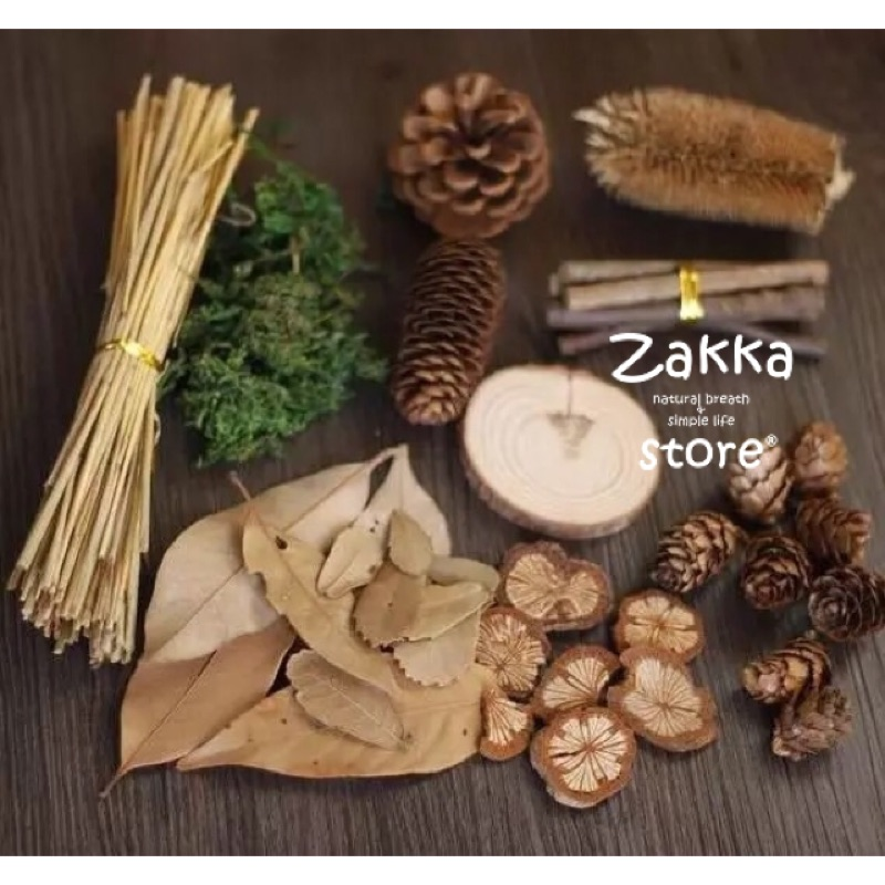 天然乾燥綜合木材松果花材材料包拍照道具婚禮佈置zakka 雜貨