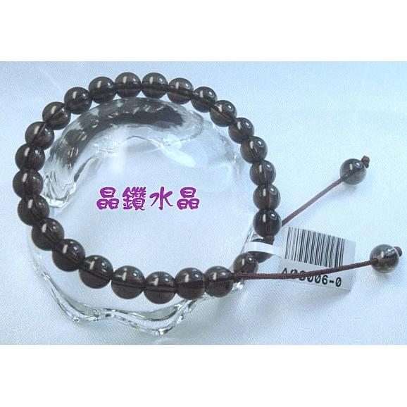 ~晶鑽水晶~茶水晶手鍊6mm 圓珠 中