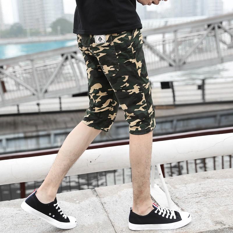2017 休閒短褲男士五分褲青年修身中褲純棉沙灘褲迷彩5 分褲