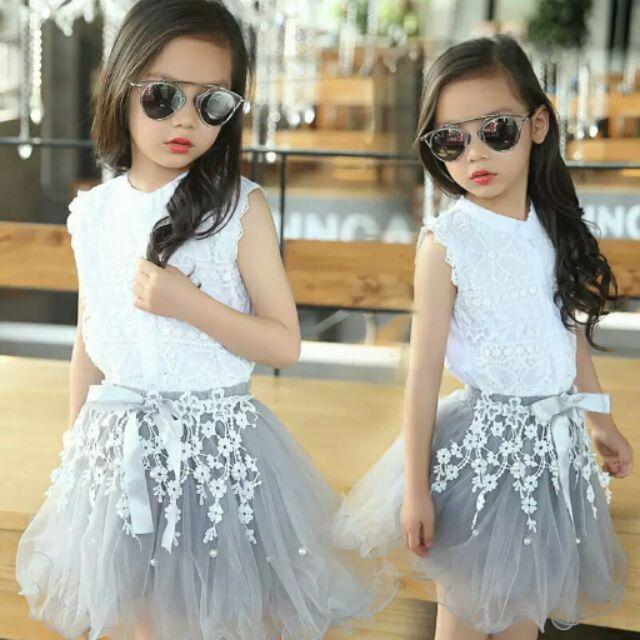 大童女童蕾絲連衣裙純棉背心套裙網紗公主裙蓬蓬裙