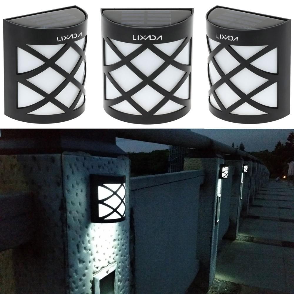 LIXADA 太陽能電池板發電可再充電LED 夜間光感應自動開關路燈壁燈防水節能白黃光花園