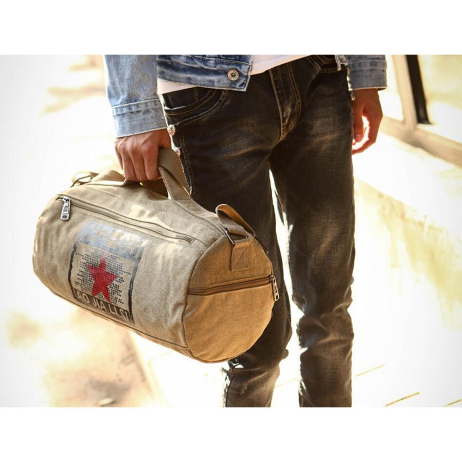 零售 印花帆布手提水桶包肩側包旅行包波士頓包側背手提包 包圓桶包