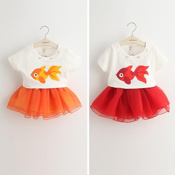 金魚卡通印花T 恤氣質紗裙 兩件套裝