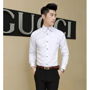 白襯衫男士純色長袖襯衣 男裝商務青少年修身休閒寸衫