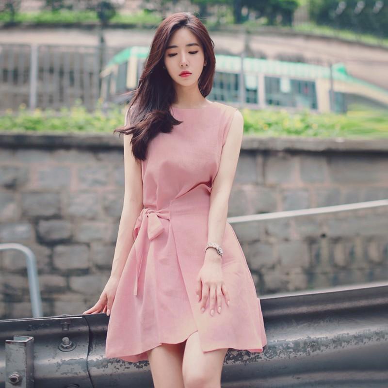 實拍❤韓國复古A 字裙子正韓洋裝氣質純色繫帶顯瘦無袖連衣裙休閒大碼背心裙無袖洋裝棉麻連身裙