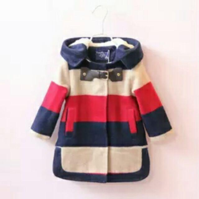2016 冬裝 女童毛呢大衣撞色條紋連帽兒童羊羔絨加厚外套