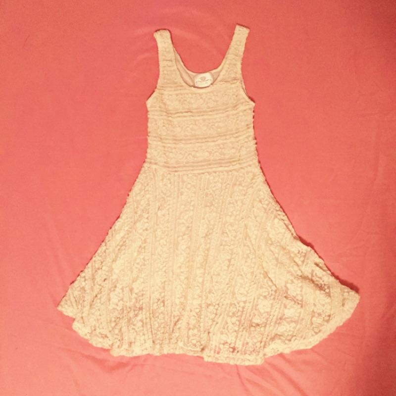 蕾絲氣質小洋裝米白色背心洋裝