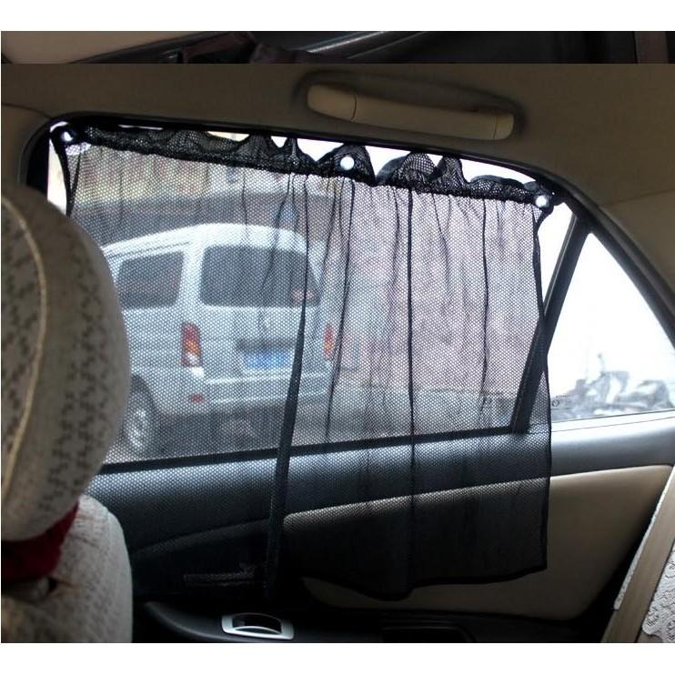 車用遮陽窗簾網布汽車窗簾簡易型多 車用窗簾吸盤遮光遮陽簾一對裝二片