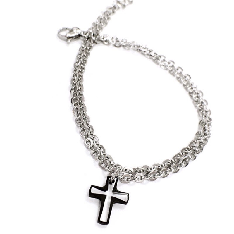 鋼製手鍊雙層細鍊奧地利 水晶十字墜