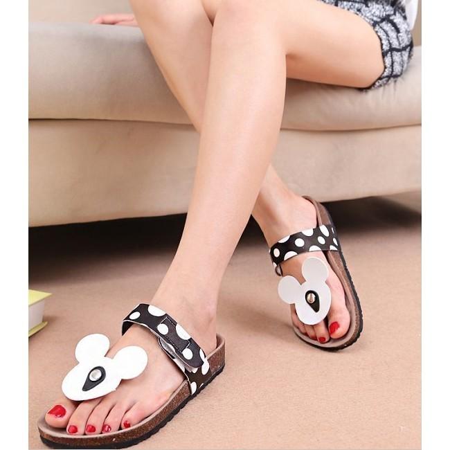 米奇拖鞋女人字拖女士沙灘鞋 可愛軟木涼拖鞋防滑涼鞋平跟