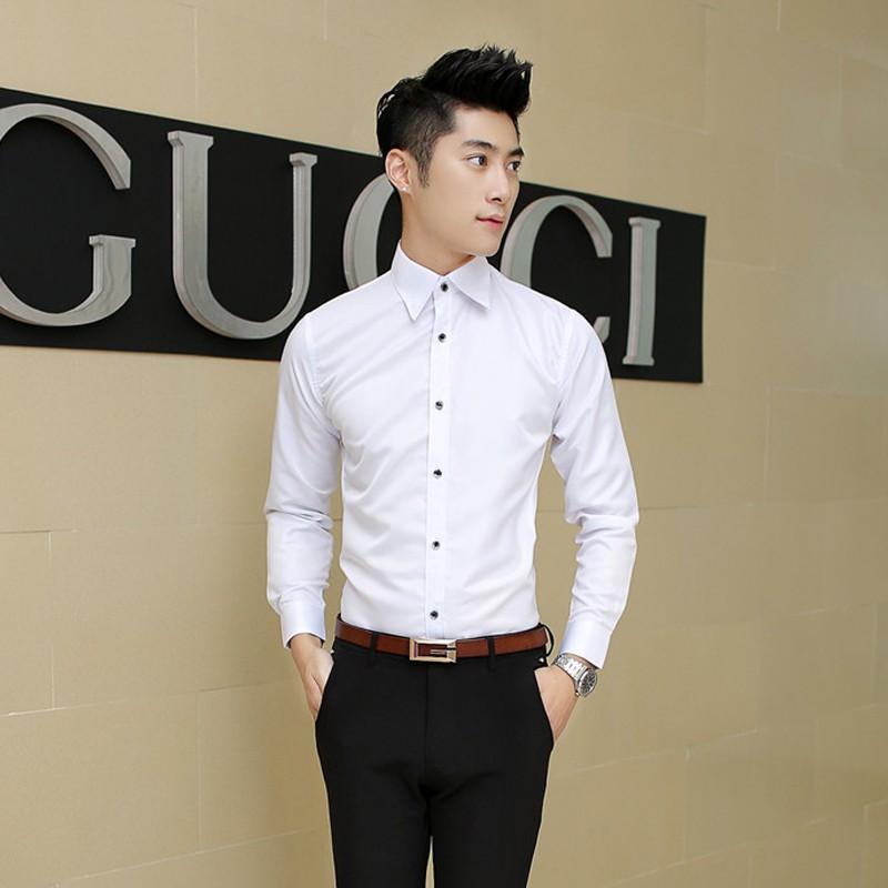 W14 男士男生長袖襯衫學生襯衫打底衫商務襯衫休閒襯衫型男 素襯衫