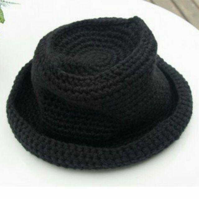 ~韓~百搭甜美氣質卷邊針織帽毛線帽漁夫帽黑色